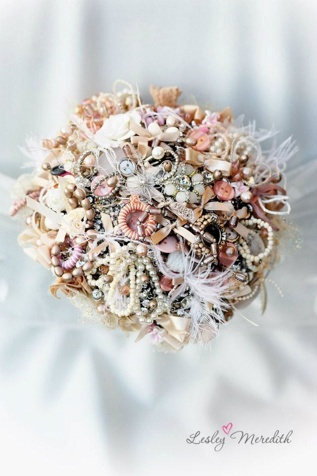 mink and peach bouquet. $788.00, via Etsy.