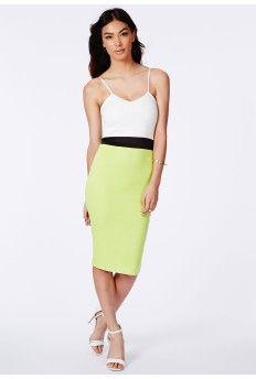 Raisala Lime Colour Block Midi Dress