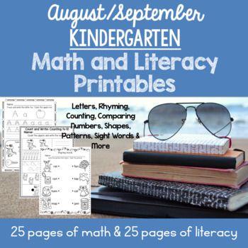 August / September Kindergarten Math and Literacy Printables ...