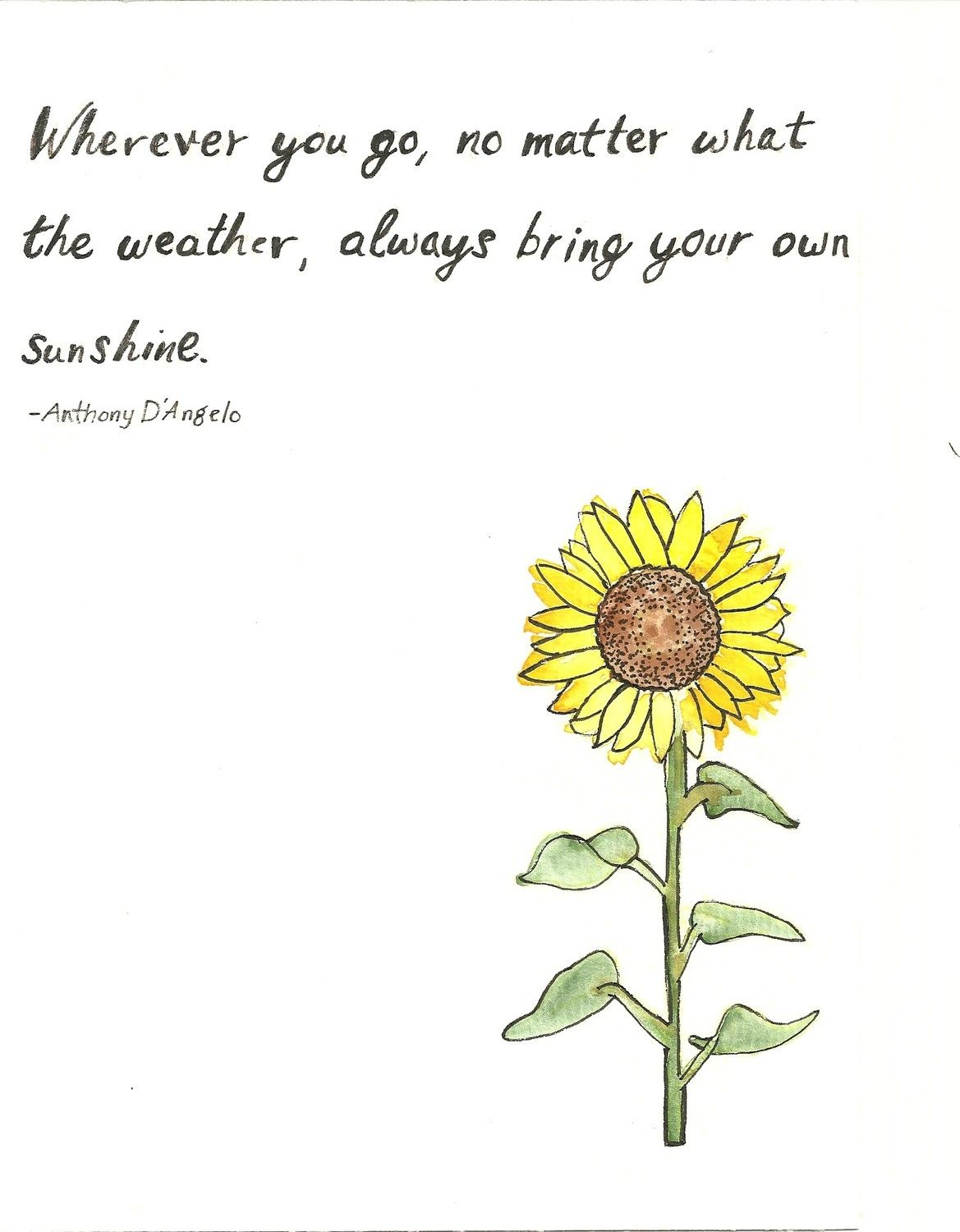 Sunflower Quotes Sunflower Quote Original Painting by bonjourfrenchie on Etsy  Sunflower Quotes
