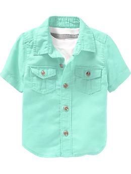 f2dbe800c Toddler Boy - Linen-Blend Button-Front Shirts for Baby