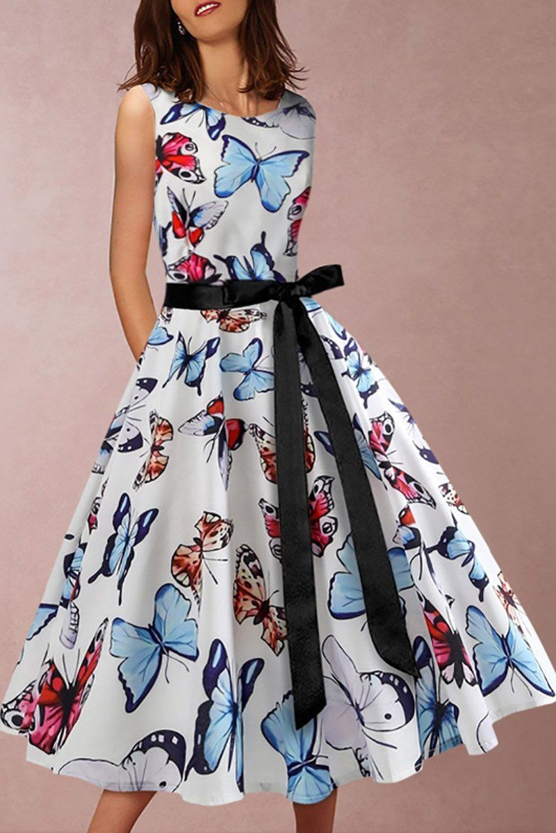 Round Collar Sleeveless Butterfly Print Swagger Skater Dress Casual Skater Dress Casual Summer Skater Dress Casual Outfi Vestidos Estilosos Vestidos Borboletas [ 1199 x 800 Pixel ]