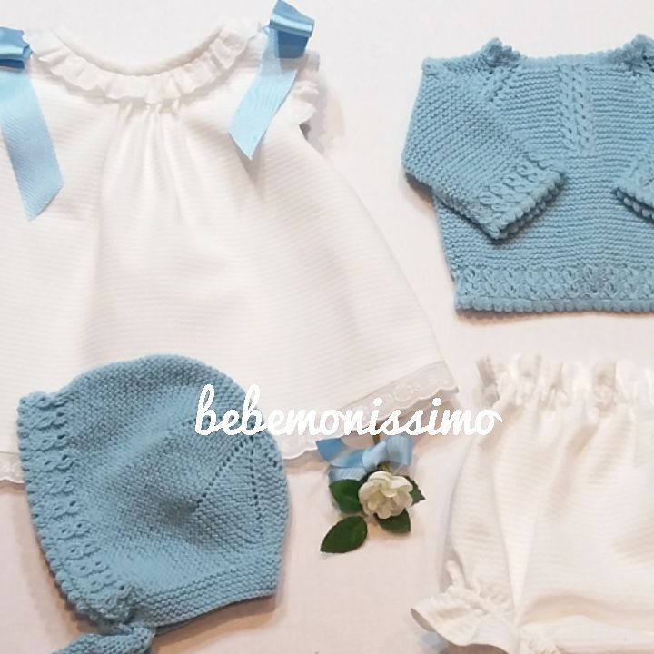 Conjuntos, pensando en los bebés que nacerán después del verano. Con chaqueta o sin ella? Con capota o sin ella? Patucos o polainas?
