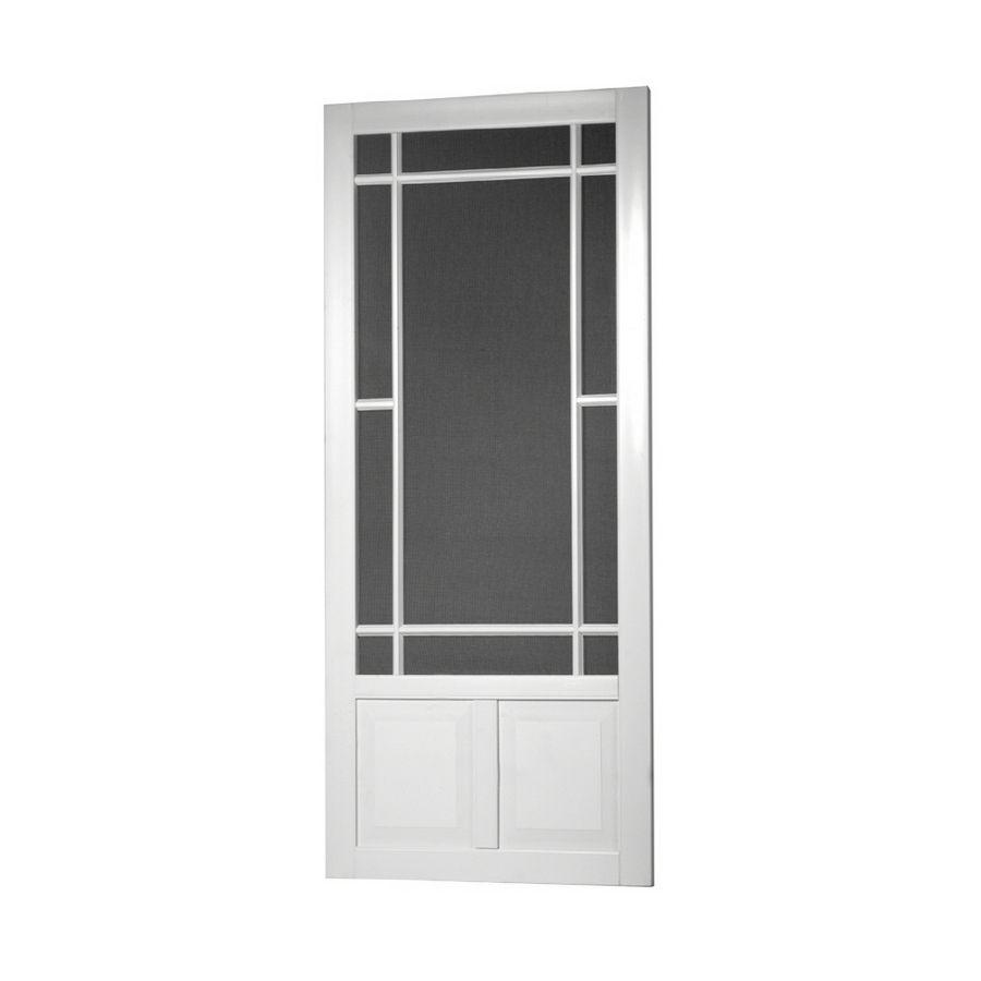 Screen Tight Prairieview White Vinyl Hinged Decorative Screen Door Common 36 In X 80 In Actual 36 In Vinyl Screen Doors Screen Door Decorative Screen Doors