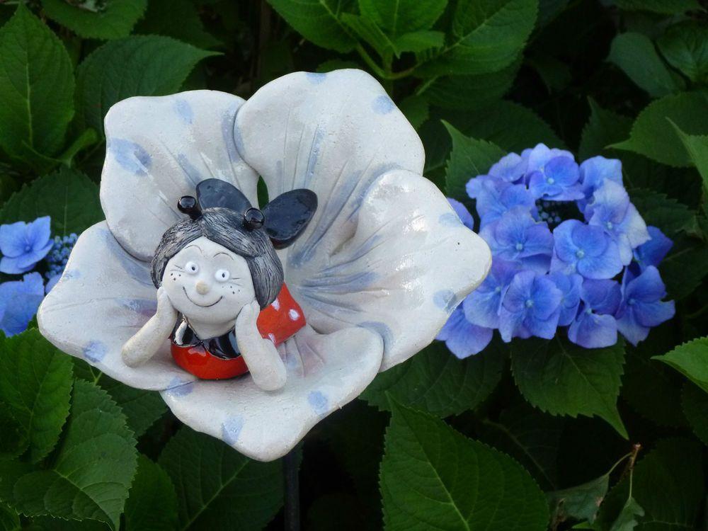 Frostfeste Keramik Blüte Für Stab Beetstecker Garten Blume Deko