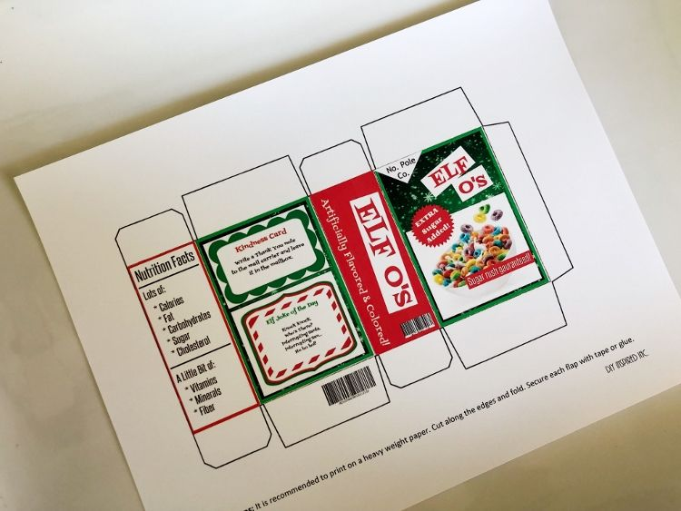 Elf Sized Cereal Box Printable Box Template Elf