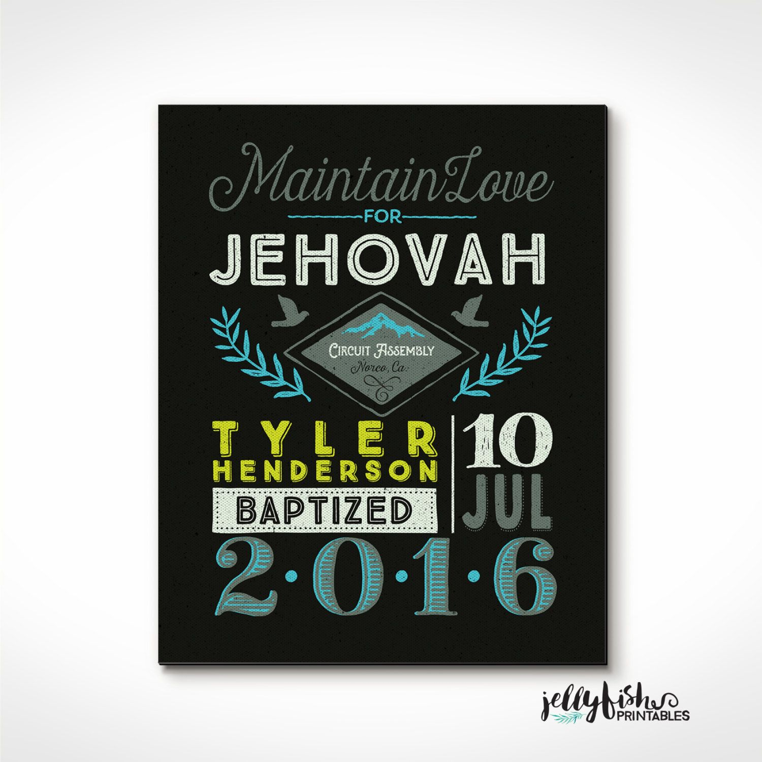 Retro Style Jw Baptism Print Keepsake For Jehovahs Witnesses Location Date Name Assembly