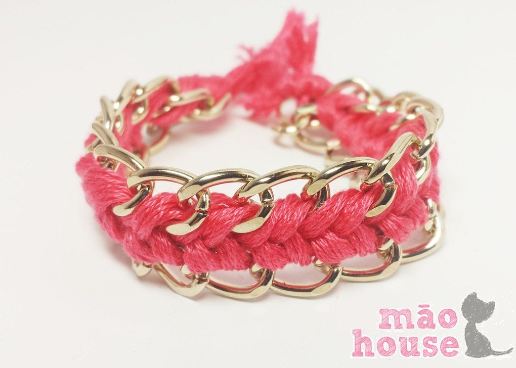 Fuschia Pink Weave Bracelet by MaoHouse on Etsy