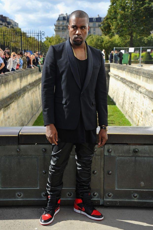 Kanye West Arrives at 2013 Christian Dior Paris Fashion Week Show wearing  Shawl Collar Dinner Jacket and Air Jordan Retro 1 Sneakers
