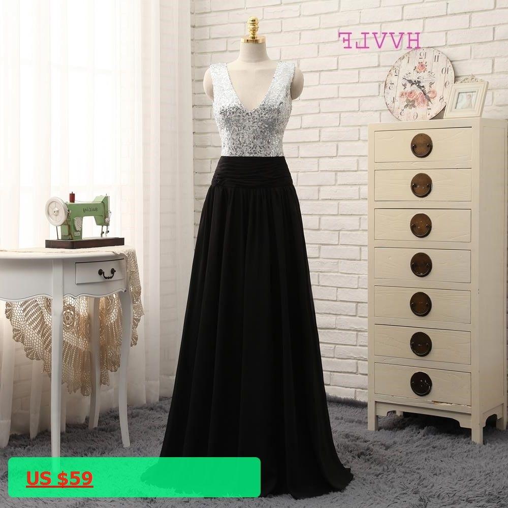 HVVLF 2018 Cheap Bridesmaid Dresses Under 50 A-line Deep V-neck Black  Chiffon 803f5e2cf506