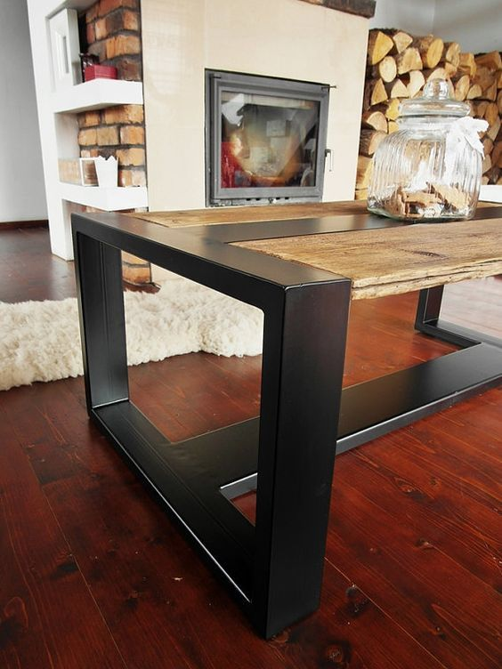 Handmade rustic reclaimed wood black steel industrial for Muebles de madera industrial acero