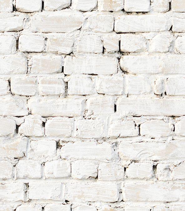 White Faux Brick: Whitewash Bricks Boutique Faux Wallpaper Design By Milton