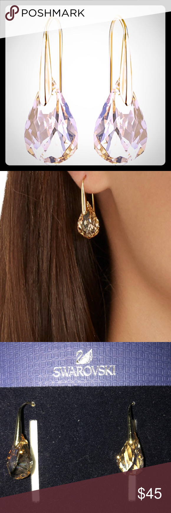 d27b8e71f Swarovski Energic pierced earrings, Gold Plating Featuring contemporary  detailing and a design inspired by the