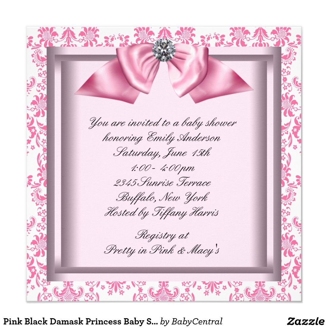 Pink Black Damask Princess Baby Shower Invitation  fa47107d79511
