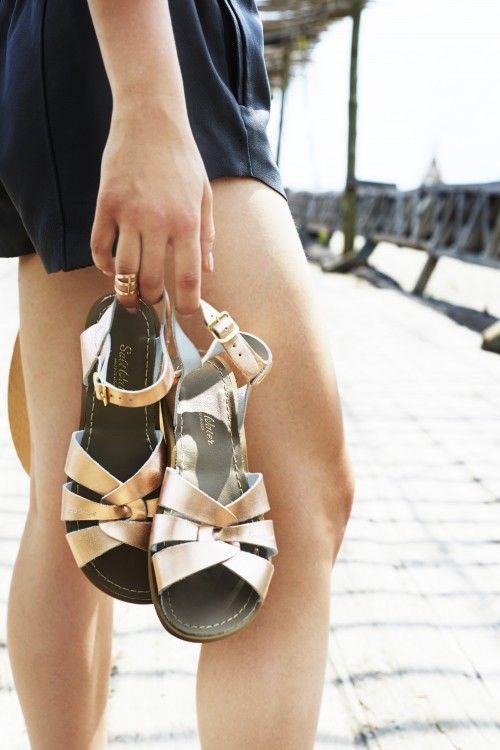 ce0ba9f0ee9b Rose gold saltwater sandals