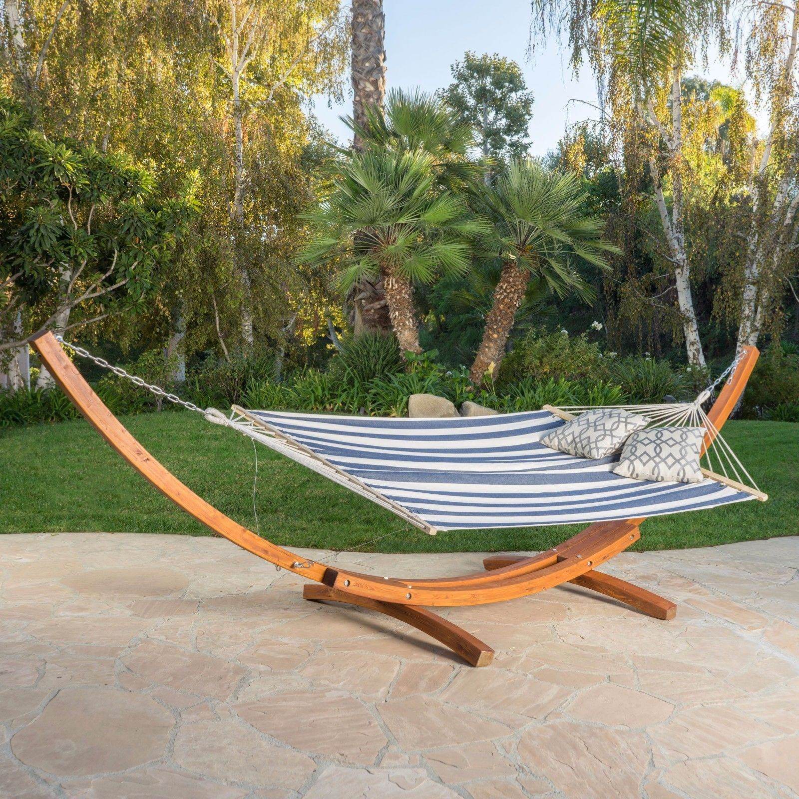 Canvas hammock bed with u steel stand blue thepatiodepot usa