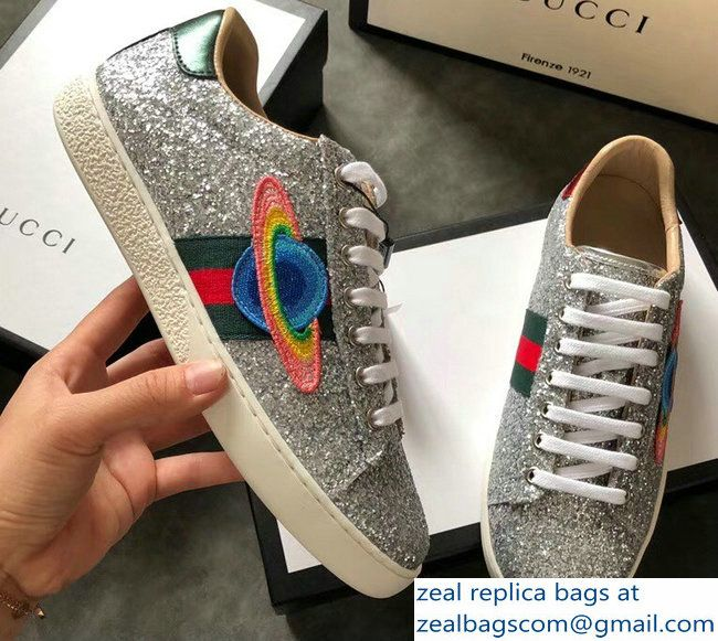 Gucci Web Ace Glitter Leather Low-Top Women  s Sneakers 475213 Silver Planet 33665465f0