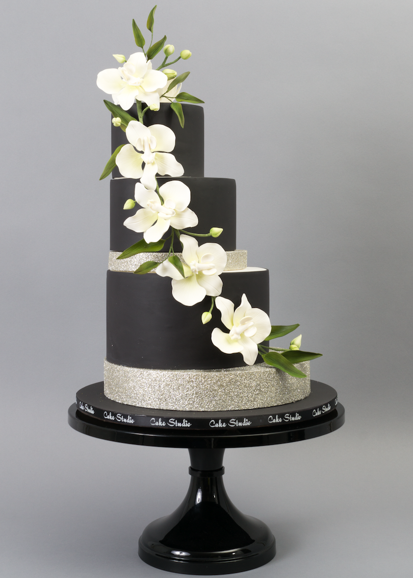 All black modern wedding cake with white sugar flowers by cake all black modern wedding cake with white sugar flowers by cake studio on satinice mightylinksfo