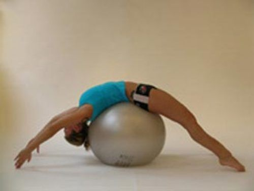 Favorite fitball stretch - opens chest, stretches hip flexors and abdominals!