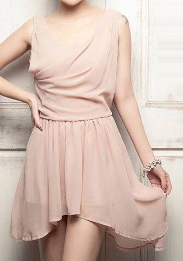 Cowl Neck Pink Chiffon High-low Evening Dress