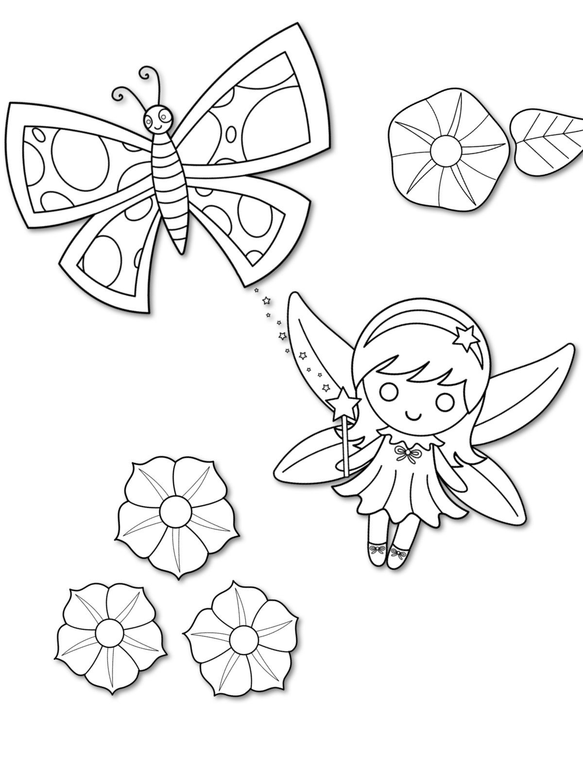 cute butterfly fairy coloring pages basic patterns templates for crafts butterfly fairy. Black Bedroom Furniture Sets. Home Design Ideas