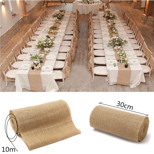 Xmas Wedding Table Runners Rustic Decor Hessian Lace Burlap Material Roll Wide