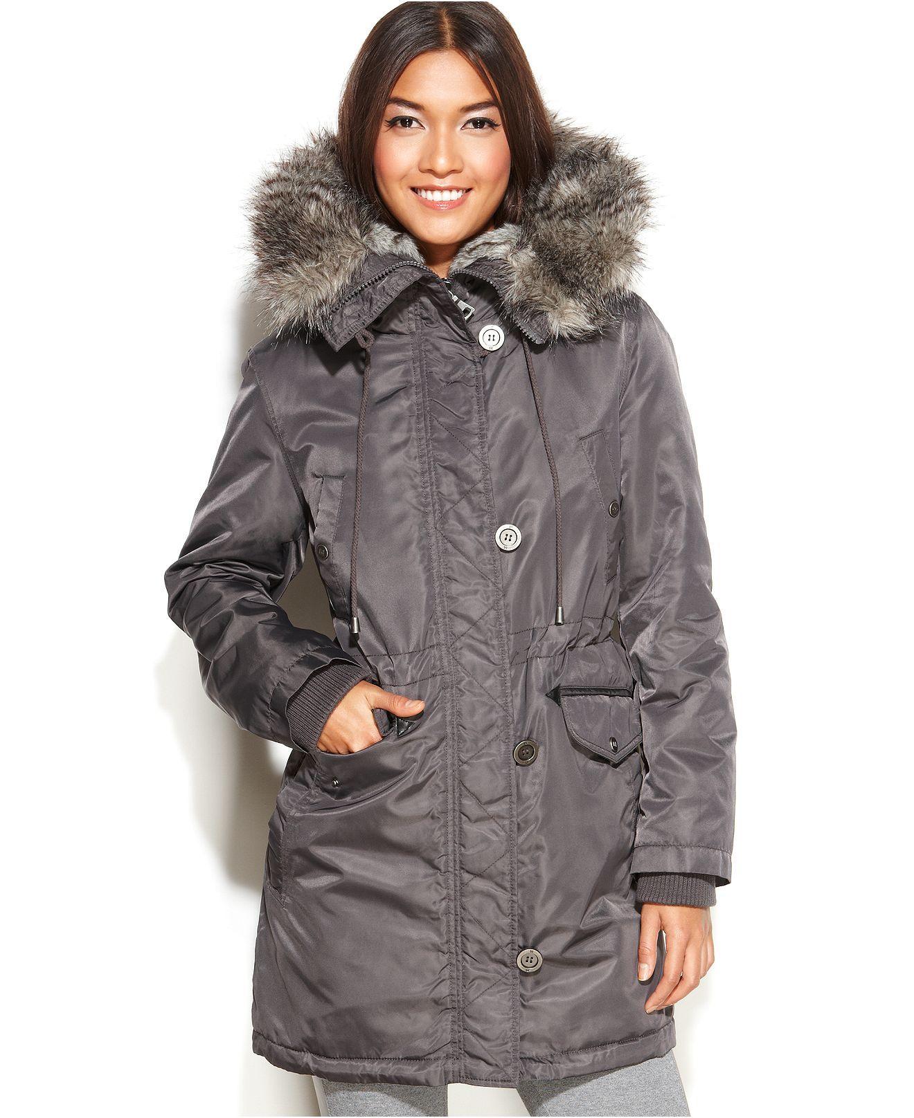 Laundry By Design Coat Hooded Faux Fur Trim Puffer Coats Women Macy S Hooded Faux