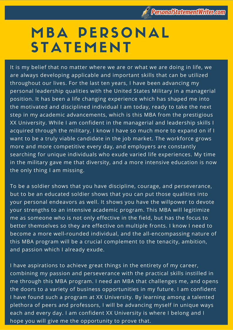 Take A Look At This Mba Personal Statement Sample And See How You Need To  Write