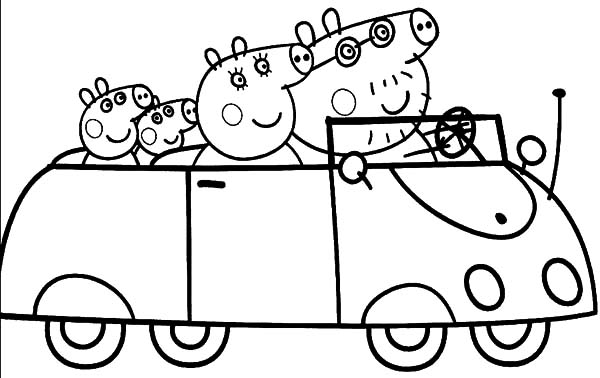 Peppa Pig And Family Driving Car Coloring Pages Best Place To Color Peppa Pig Coloring Pages Coloring Pages Cars Coloring Pages