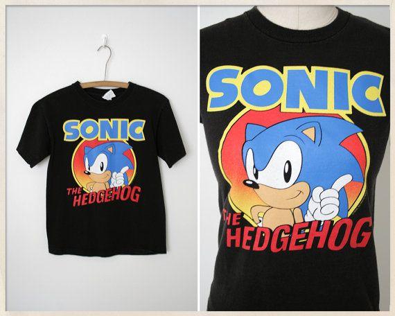 Vintage 90s Sonic The Hedgehog T Shirt Black Sonic Shirt
