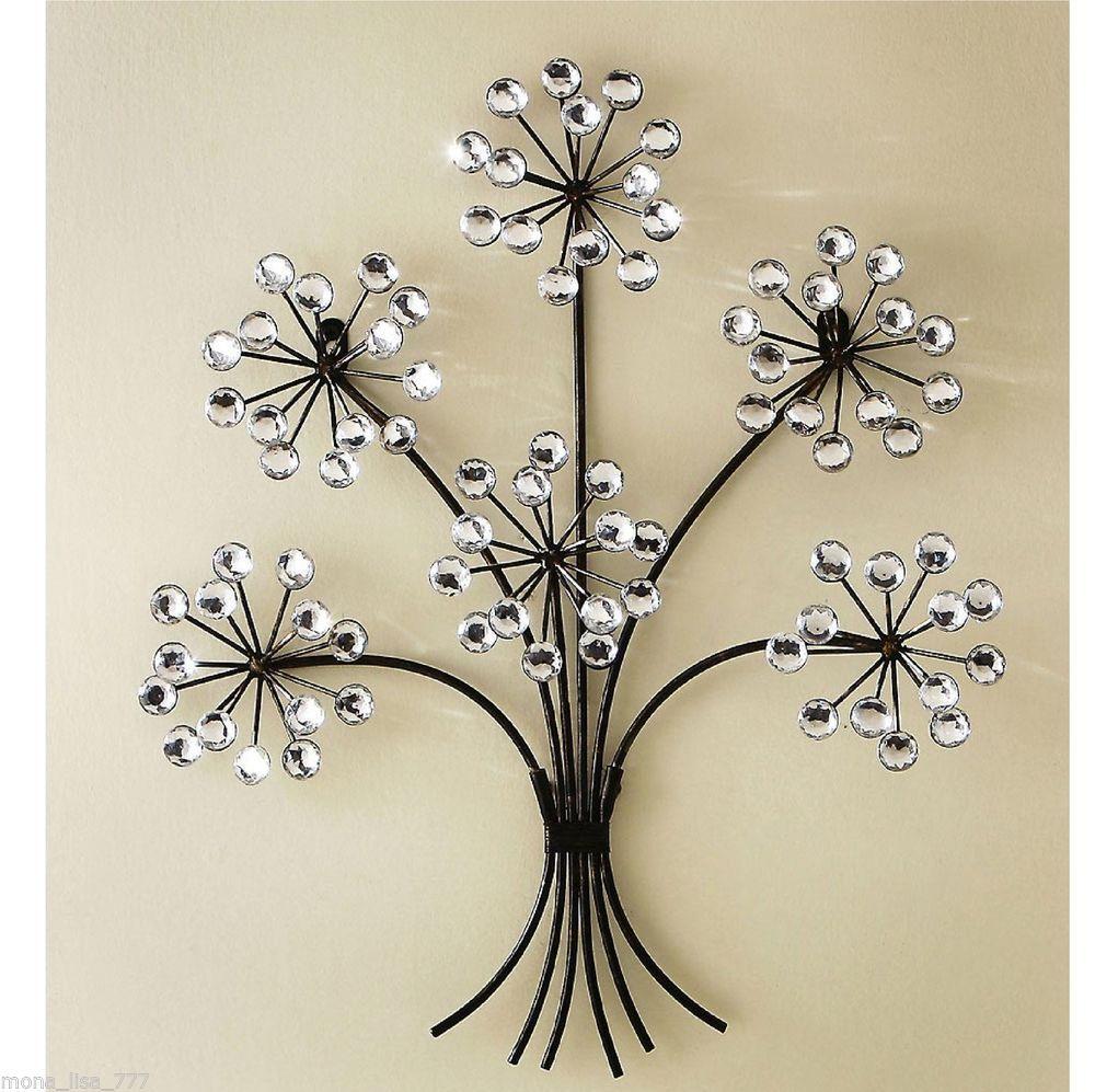 Metal Tree Wall Hanging New Crystal & Metal Tree Wall Art Floral Flower Bedroom Living