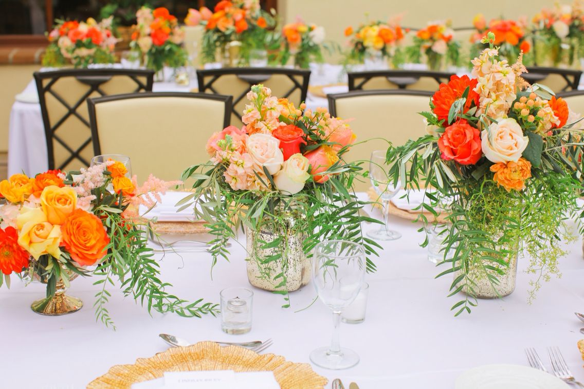 My gorgeous centerpieces by Briana Maxson Design. Coral, Peach, Gold Wedding. Intimate wedding. Outdoor wedding. Oak Creek Golf Club Wedding.