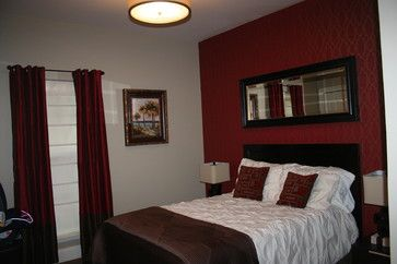 Accent Wall Customs Design Ideas Pictures Remodel And Decor Red Accent Wall Bedroom Burgundy Bedroom Bedroom Red