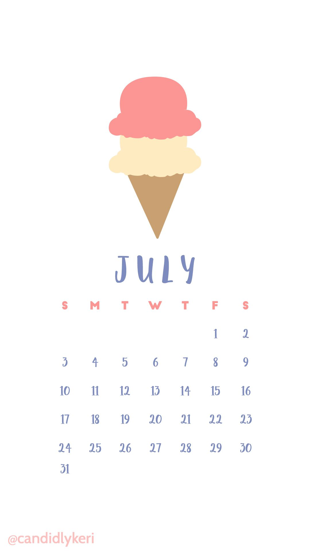 cute pastel cartoon ice cream pink july 2016 calendar wallpaper free download for iphone android or