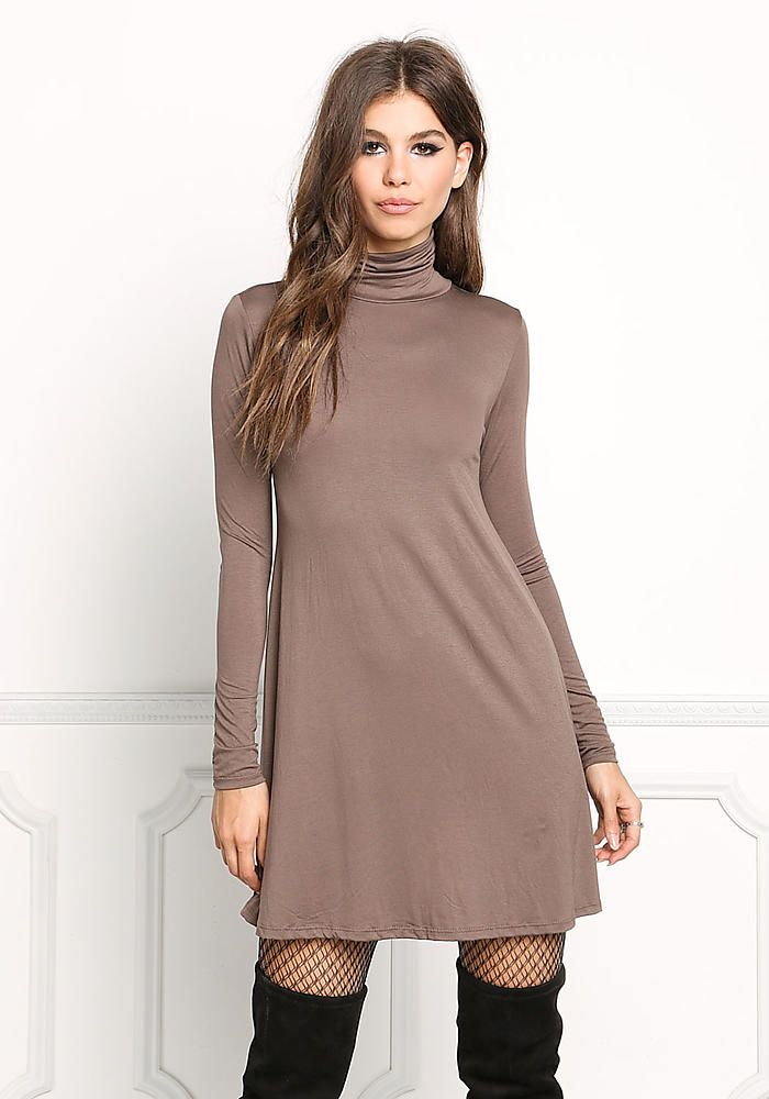 73ba3b5d09c Mocha Jersey Knit Turtleneck Shift Dress