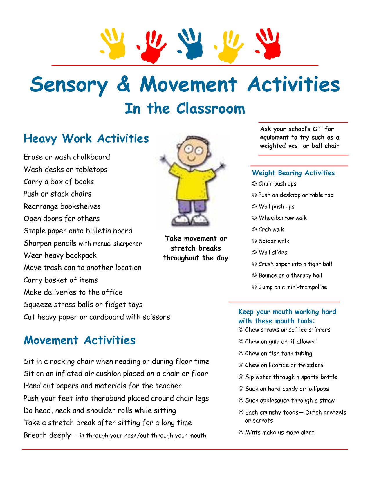 Sensory strategies & heavy work suggestions for the classroom ...