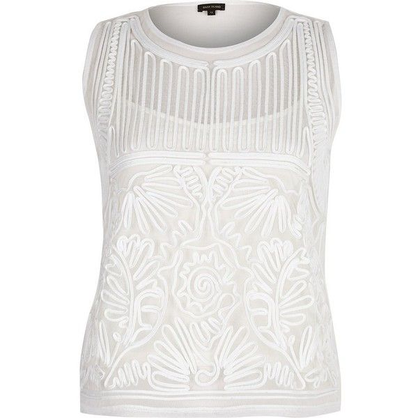 River Island Cream mesh embroidered tank top ($56) ❤ liked on Polyvore featuring tops, cream, white tops, white mesh top, white cami, white camisole and cream tank top
