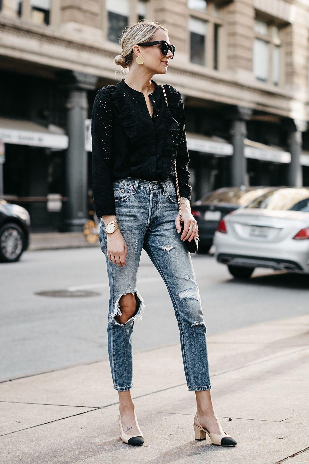 ef869942 Blonde Woman Wearing Madewell Black Eyelet Blouse Levis Denim Ripped Skinny  Jeans Chanel Slingbacks Fashion Jackson Dallas Blogger Fashion Blogger  Street ...