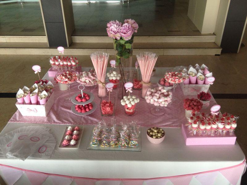 Mesa Chuches Comunion Mesa De Dulces Candy Table Pink Candy