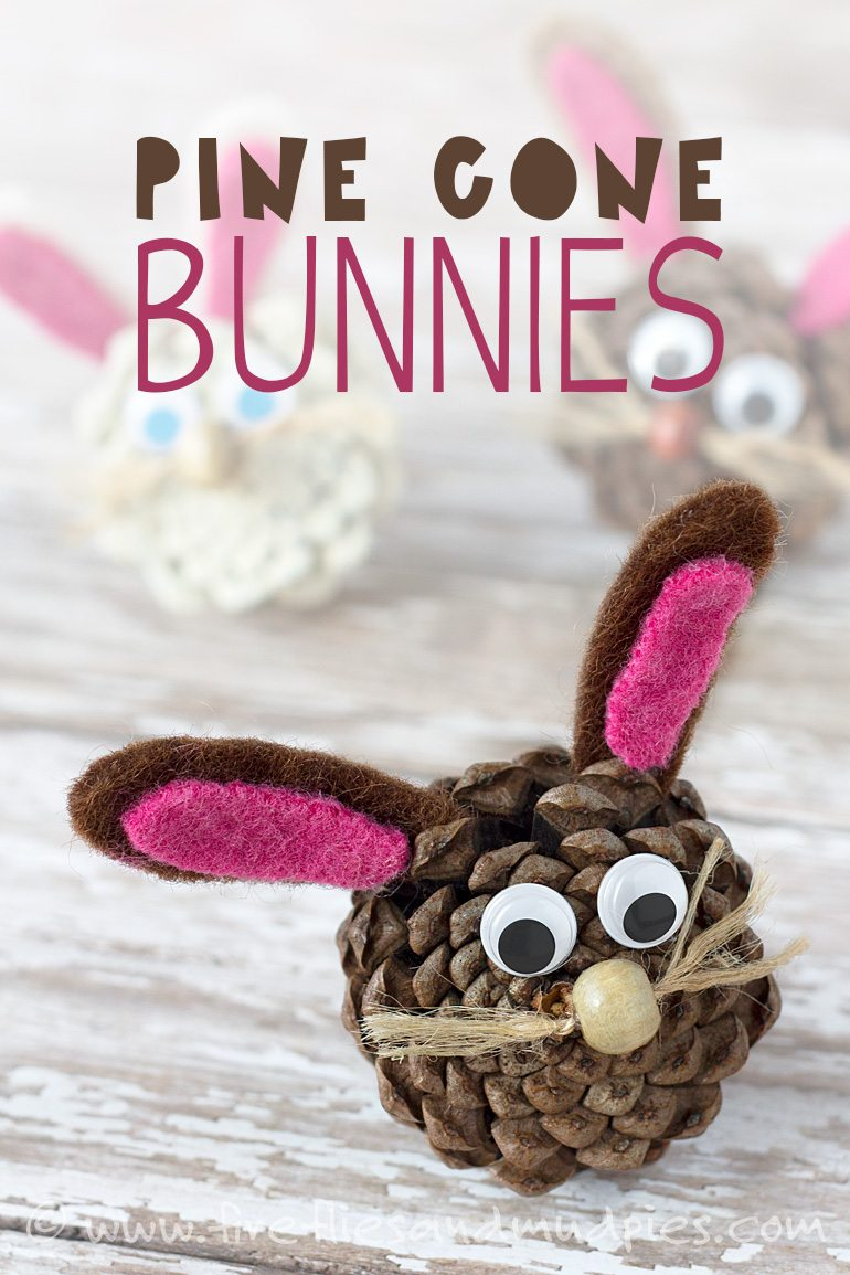 Pine Cone Bunnies   Easy easter crafts, Easter kids, Pine cone crafts