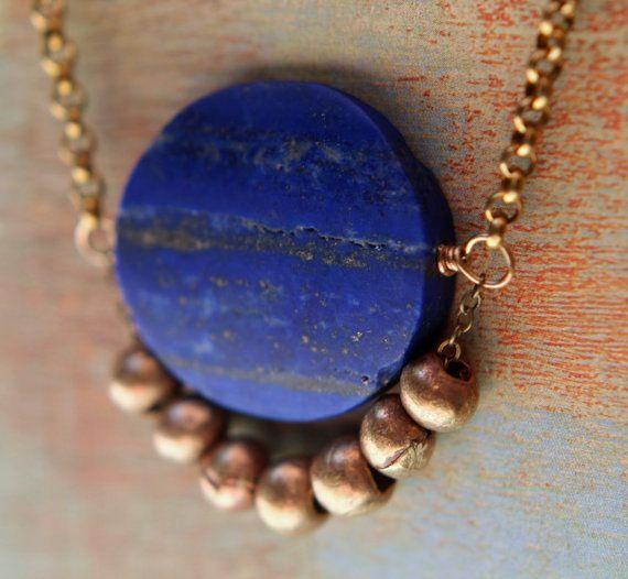 Lapis Lazuli Necklace Blue Lapis Disc Raw Gold Brass Tribal Trade Beads Persian Asian Egyptian Influence Gift Box Lapis Lazuli Necklace Lapis Lazuli Jewelry Lapis Necklace