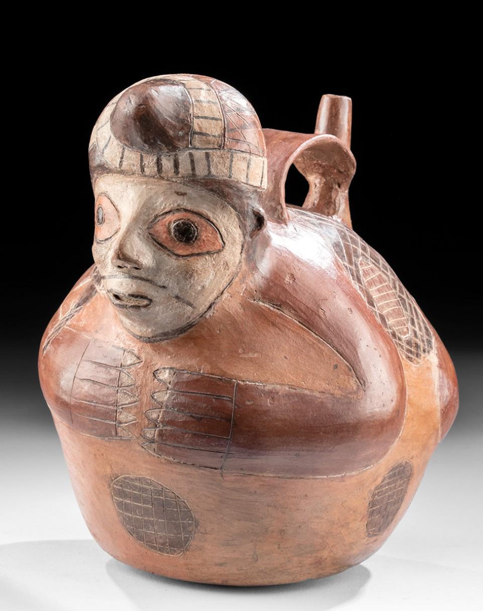 Paracas Polychrome Stirrup Vessel Fisherman Form Polychrome Precolumbian Ancient Peruvian