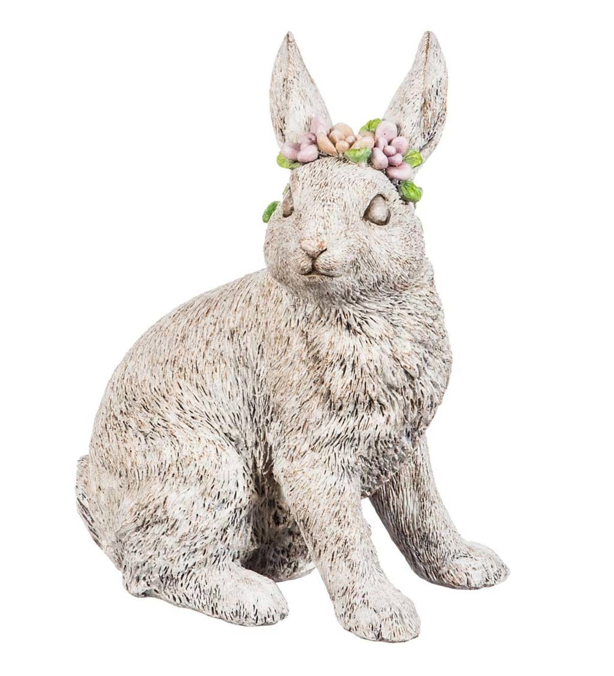 Floral Crown Bunny Polystone Garden Statue PlowHearth