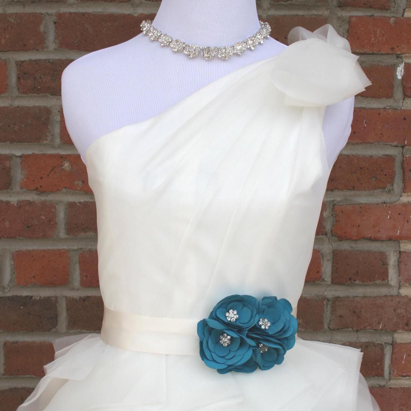 Custom wedding sash u ivory wedding dress sash with cluster of