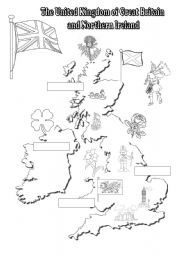 English Worksheets: The UK: black-and-white map for young