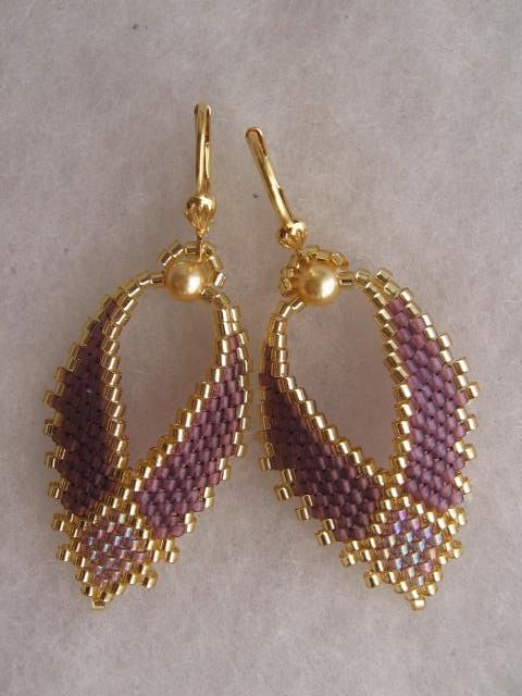 Beadwoven Earrings Russian Leaf Amethyst Free By Pattimacs