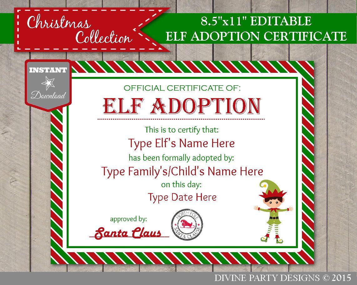 Instant Download Editable Boy Elf Adoption Certificate Add Etsy Adoption Certificate Christmas Elf Elf Names