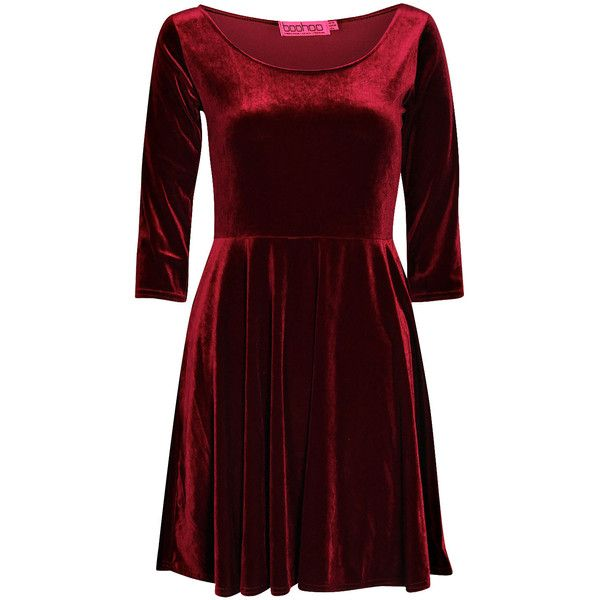 Boohoo Melissa Velvet Skater Dress ($20) ❤ liked on Polyvore featuring dresses, short dresses, sleeve skater dress, skater dress, mini dress and sleeve dress