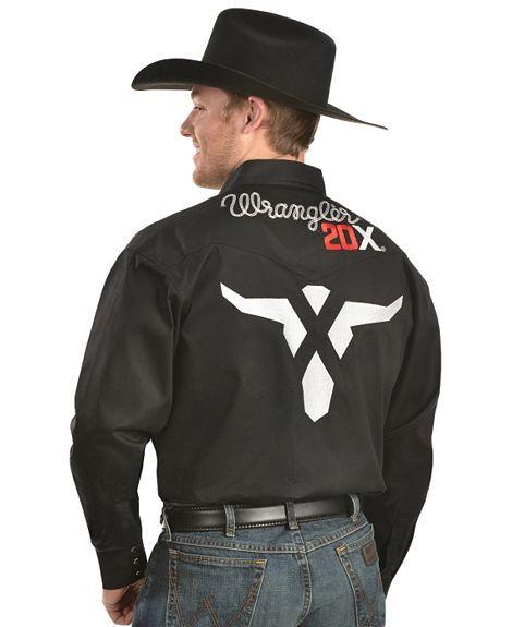 b8a99b62720e2 Wrangler 20X Embroidered Logo Western Shirt - Sheplers Camisas Vaqueras