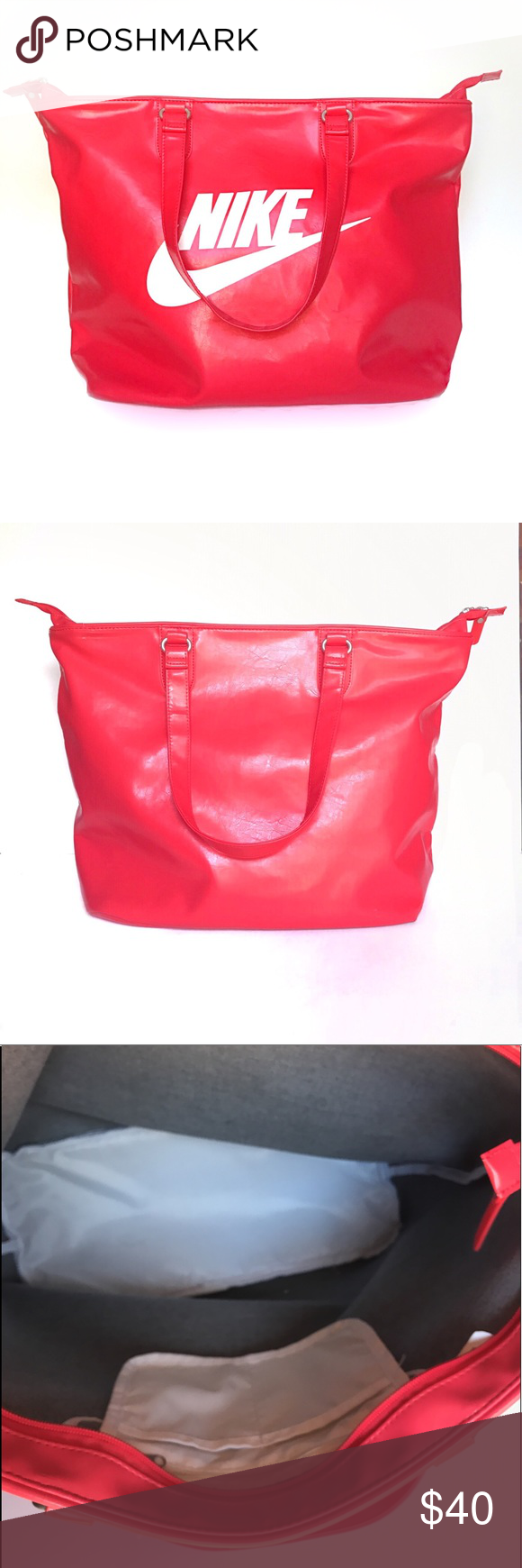 6d957d7703c8 Color- Pink Condition- Gentle Use.  Only visible sign of wear is underside  of handle has small marking. 20.1 X 7.5 X 13.4 Nike Bags Totes. NIKE  Heritage SI ...